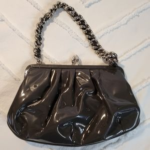 Jane August Patent Leather Chain Bag Grey